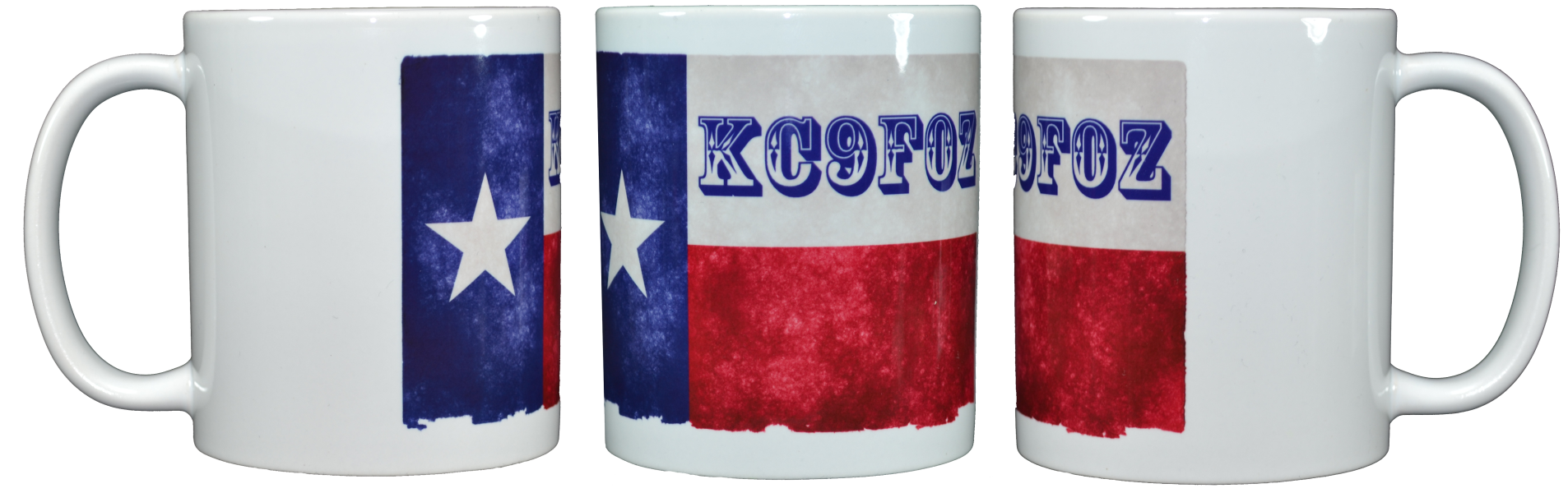 Ham Amateur Radio Texas Mug With Call and old style font.